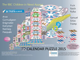 3D Calendar Puzzle 2014 - We're raising money for BBC Children in Need